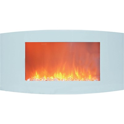 35  Curved Wall Mount Electric Fireplace with Crystals