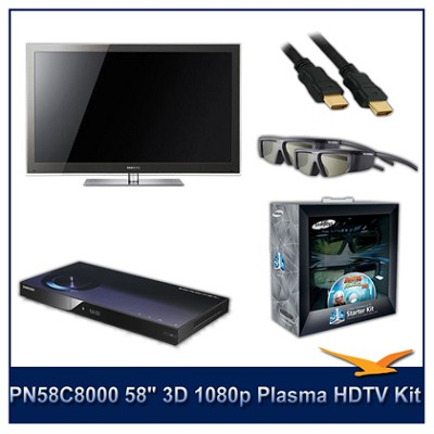 PN58C8000 - 58` 3D 1080p Plasma HDTV Kit w/ 4 3D Glasses and Blu-Ray Player