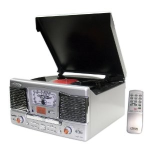 PTCD8US Retro Style Turntable with CD/Radio/USB/SD/MP3/WMA and Vinyl to MP3 Enco