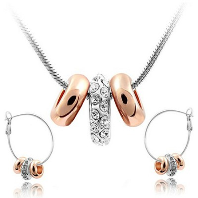 18k Gold Plated White Sapphire Crystal Elements Jewelry Set