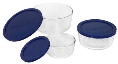 Storage 6-Piece Round Set, Clear with Blue Lids