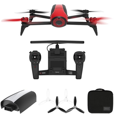 Bebop 2 Quadcopter Drone with HD Skycontroller Bundle (Red) All Inclusive Pack