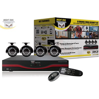8 Channel LTE D1 DVR 500GB Hard Drive 4 x Indoor/Outdoor Cameras & Free Software