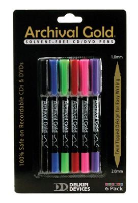 6 Pack - CD/DVD Safe Pen - Solvent free. Non-toxic. Rd/Bl/Bk/Grn/Pnk/Prpl