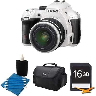K-50 White w/ 18-55mm Lens 16MP Digital SLR Camera Kit 16GB Bundle