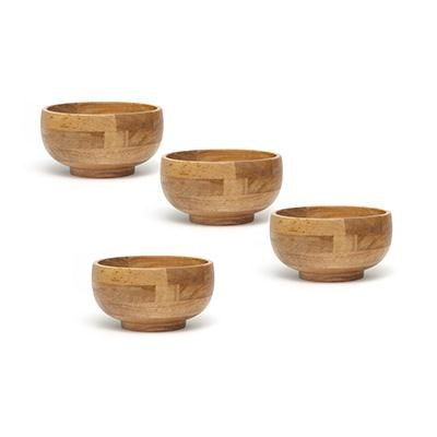 Oak Small Footed Rice Bowl 4pc
