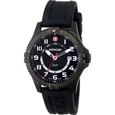 Men's Squadron GMT Watch - Black Dial/Black Silicone Strap