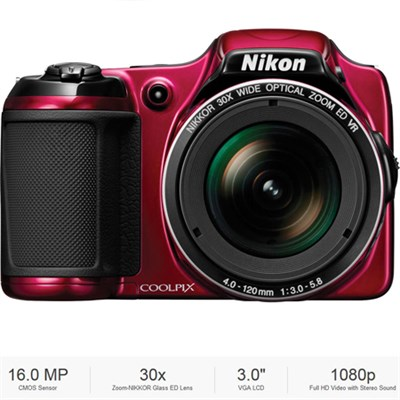 COOLPIX L820 16 MP 30x Zoom Red Digital Camera - Certified Refurbished