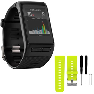 vivoactive HR GPS Smartwatch  XL Fit - Black w/ Silicone Band Strap + Tools Lime