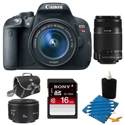 EOS Rebel T5i SLR Camera w/ 18-55mm STM, 55-250mm, 50mm Bundle Deal