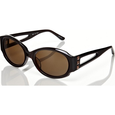 Brown-Sunglasses w/Brown Lens Keyhole and Stud Detail