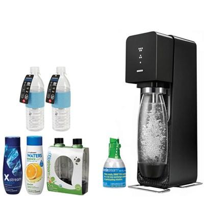 Source Home Soda Maker Starter Kit, Black with Bundles