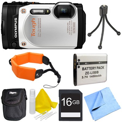 TG-860 Tough Waterproof 16MP Digital Camera w/ 3-Inch LCD - White Deluxe Bundle