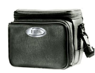 Leatherette Medium Digital Camera Case {BLACK}