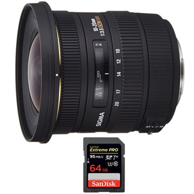 10-20mm F3.5 EX DC HSM A-Mount Lens for Sony with Sandisk 64GB Memory Card
