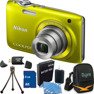 COOLPIX S3100 14MP Yellow Compact Digital Camera 8GB Bundle