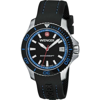 Ladies' Sea Force Swiss Watch - Black and Blue Dial/Black Silicone Strap