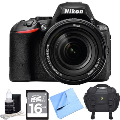 D5500 DX Digital SLR Camera Body w/ 18-140mm Lens + 16GB Card + Case Bundle