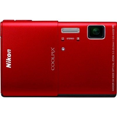 COOLPIX S100 16MP Red Compact Digital Camera w/ 3.5 inch Touch Screen
