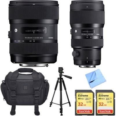 AF 18-35mm f/1.8 DC HSM Lens + 50-100mm f/1.8 DC HSM Lens for Nikon Mount Bundle