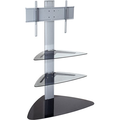 SmartMount Universal TV Stand (Silver) for 32` to 50` TVs w/ Two glass shelves