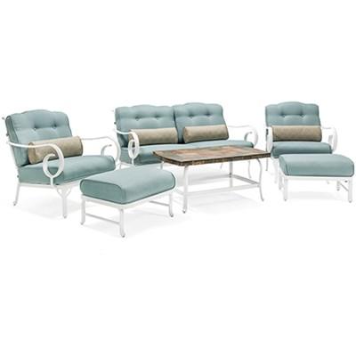 6pc Seating Set w/Aluminum Frame/White FinishStone Top Coffee Table
