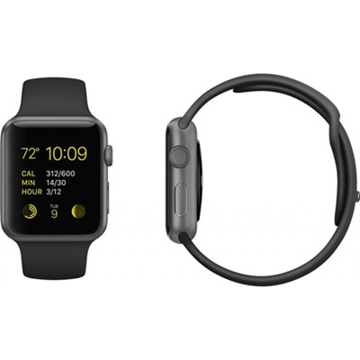 Apple Watch Sport 42mm Space Gray Aluminum Case - Black Sports Band