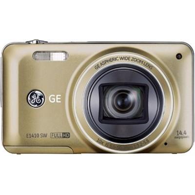 E1410SW-CP Full HD 1080p 10X, 3` LCD 14MP Gold Digital Camera with CMOS Tech.