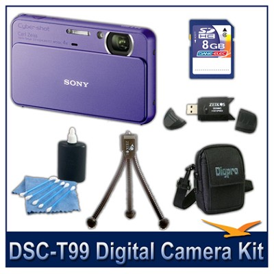 DSC-T99 14MP Violet Touchscreen Digital Camera with 8GB Card, Case, and more