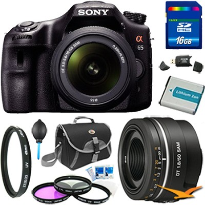 SLTA65VL - a65 Digital SLR Camera 24.3 MP with 18-55mm & 50mm f1.8 Lens Bundle
