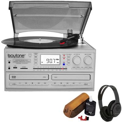 Bluetooth CD Player + AM/FM & Turntable + Bluetooth Wireless Headphones Bundle