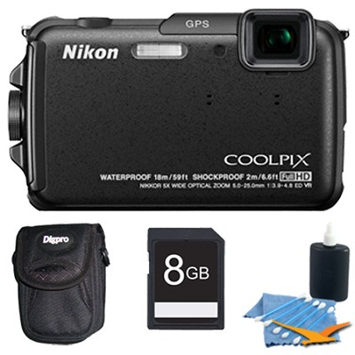 COOLPIX AW110 16MP Water/Shock/Freezeproof Black Digital Camera Plus 8GB Kit