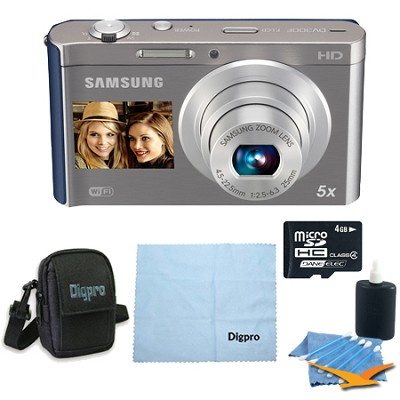 4 GB Bundle DV300F 16 MP 5X Wi-Fi Digital Camera - Silver/Blue