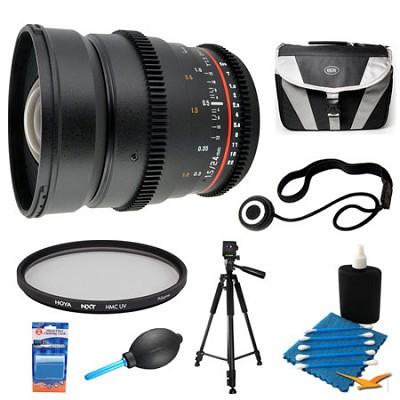 24mm T1.5 Aspherical Wide Angle Cine Lens and Filter Bundle for Sony Alpha DSLR