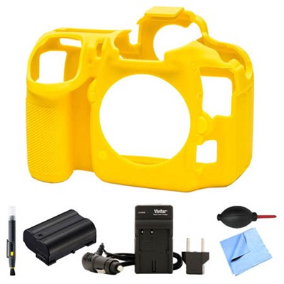 Nikon D500 Silicone Protection Cover Bundle for your DSLR EN-EL15 Battery Yellow