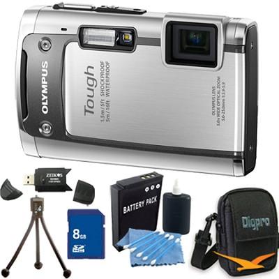 Tough TG-610 14MP Water/Shock/Freezeproof Digital Camera 8GB Silver Kit