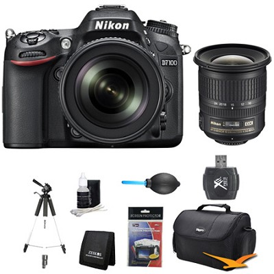 D7100 DX-Format Digital HD-SLR with 18-105mm VR Lens Wide Angle Bundle