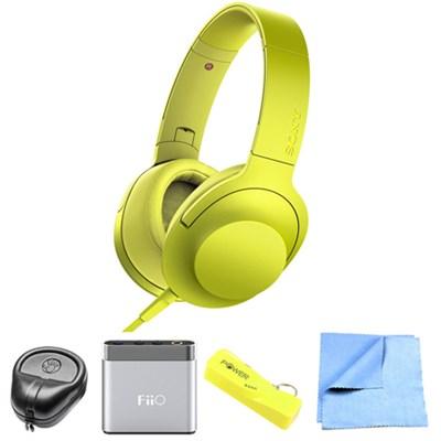 Premium Hi-Res On-Ear Stereo Headphone Yellow MDR100AAP/Y w/ FiiO A1 Amp Bundle
