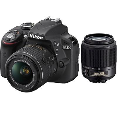 D3300 24.2 MP SLR with 18-55 VR II + Nikon 55-200  Lens Certified Refurbished