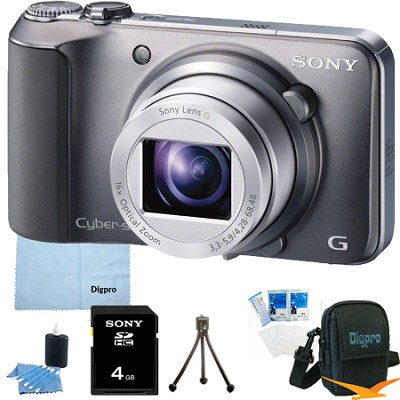 Cyber-shot DSC-H90 16.1 MP 16x Optical Zoom HD Video Camera (Silver) 8GB Bundle