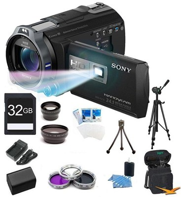 HDR-PJ710V 32GB HD Projector Camcorder 24.1 MP still with Geotagging Bundle