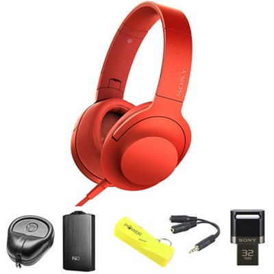 Premium Hi-Res On-Ear Stereo Headphone Red - MDR100AAP/R w/ FiiO A3 Amp. Bundle