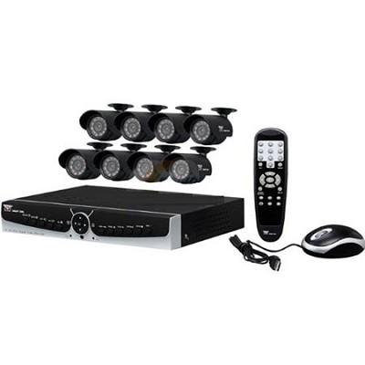 8 Channel DVR w/ 8 Night Vision Cameras and 500 GB HDD - Smart Phone Compatible