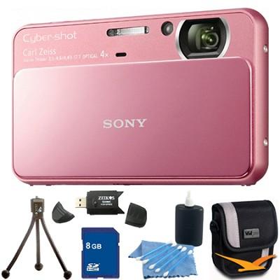 Cyber-shot DSC-T110 Pink Touchscreen Digital Camera 8GB Bundle