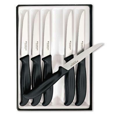Cutlery 6-Piece Steak Knife Set with 4 1/2 inch serrated edge spear Tip Blades