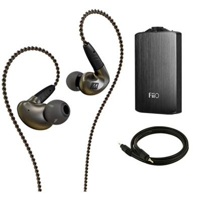 Pinnacle P1 High Fidelity Audiophile In-Ear Headphones w/ FiiO A3 Amp Bundle