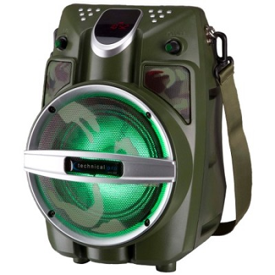 6.5` Powered Bluetooth PA System with Mic & LED Woofer - Army Green Shaker