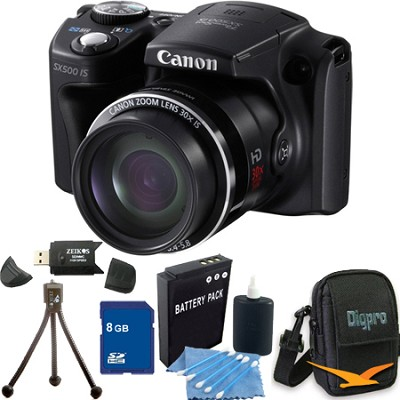 Powershot SX500 IS 16MP 30x Zoom Black Digital Camera 16GB Kit