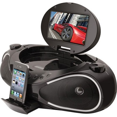CD/DVD/iPhone Boombox with 7-Inch TFT Display and FM Radio