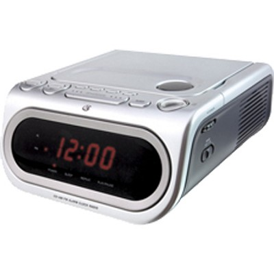 gpx cc208s am fm clock radio with top load cd player silver. Black Bedroom Furniture Sets. Home Design Ideas